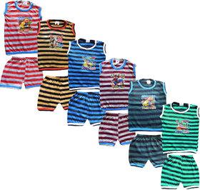 Jisha Fashion Sleeveless Tshirt Chaddi Set ( Pack of 6)