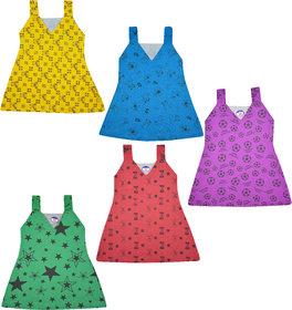 Jisha V Neck Multicolor Sleeveless Printed Frock Set of 5