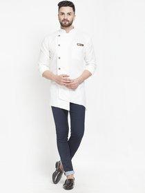 BENSTOKE mens cotton blend designer kurta(white)
