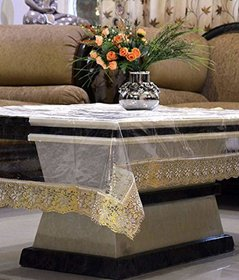 HomeStore-YEP Transparent Center Table Cover Waterproof (LXB) 60 X 40 Inches, Golden Lace