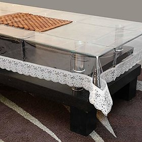 HomeStore-YEP Transparent Center Table Cover Waterproof (LXB) 60 X 40 Inches, Silver Lace