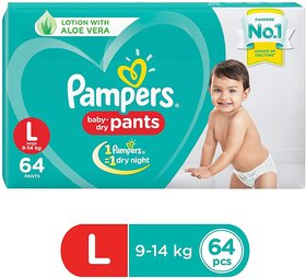 Pampers Baby Dry Diaper Pants, Large (64 Pieces)