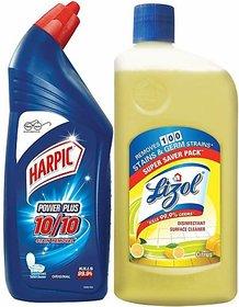 Harpic Toilet Cleaner, Original - 1L with Lizol Floor Cleaner, Citrus - 975ml (1.975 L)