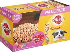 Pedigree Gravy Chicken Chunks for Puppy Chicken 1.2 kg (15x0.08 kg) Wet Dog Food