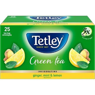 Tetley Invigorating Lemon, Ginger, Mint Green Tea Bags Box (25 Bags)