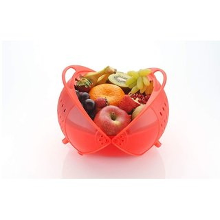 SilverShopIndia 3 in 1 Smart Basket for Fruits and Vegetables Plastic Used as Water Strainer and Store at Dining Red