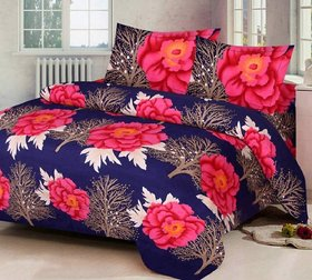 Midnight Trendz- One Pollycotton Blue Red Flower Printed Double Bedsheet with two pillow covers.(LxB) (90X90).