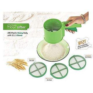 SilverShopIndia Plastic Stainless Steel Sieve Flour Sifter 3 In 1