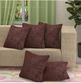 HomeStore-YEP Velvet Plain Decorative Soft Texture Cushion Cover - Pack of 5, 16x16 Inch