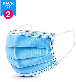 RA 3 Ply Medical Surgical Dust Face Mask Ear Loop Medical Surgical Dust Face Mask Pack of 2 - Flumask