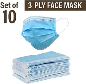 RA 3 Ply Medical Surgical Dust Face Mask Ear Loop Medical Surgical Dust Face Mask Pack of 10 - Flumask