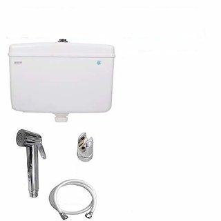 SHRUTI PVC Dual Center Push Flushing Cistern White 12.Liter With PVC Jaguar Health Faucet  2.Mtr PVC White Shower Tube