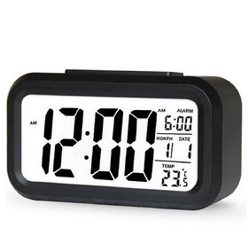Digital Alarm Table Clock with Automatic Sensor Backlight, Snooze Alarm, Date and Temperature for Home/Office- Black