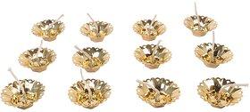 Golden Flower Shape Floating Plastic Diya, Pack of 12, for Diwali, Ganpati, Navratri Decoration  Puja