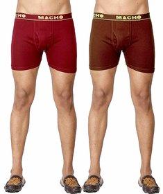 Macho Men's Long Cotton Fine Trunk Pack of 2 (Multi Color)