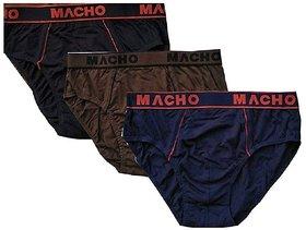 Macho Smart Cut Mens Cotton Brief Multicolor, Pack of 3