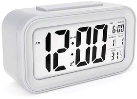 Digital Alarm Table Clock with Automatic Sensor Backlight, Snooze Alarm, Date and Temperature for Home/Office- White