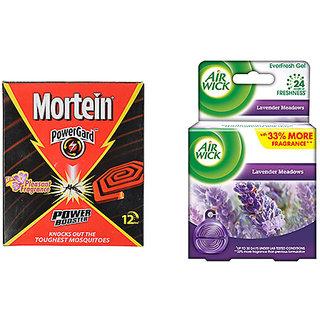 Mortein Power Guard Coil Box - 10 Count + Airwick Everfresh Gel (Lavender Meadows), 50 g