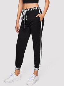LOVE Printed Elastic Waist with Love Printed Elastic Ankle Side White Stripe Pocket Pants Jegging Gym Pants Yoga Pants