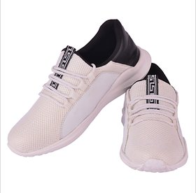 1AAROW Men's White Solid Slip On Sports Shoes