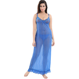 Be You Blue Power Net Women Nighty / Night Dress with Panty