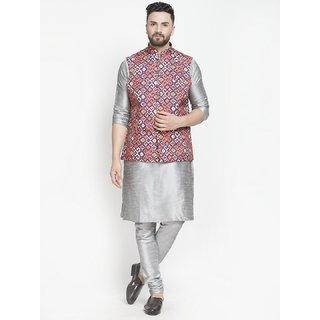 Benstoke mens silver silk kurta pajama with printed nehru jacket