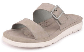 Bata Women's Grey Lightweight Suede Leather Double Strap Slippers
