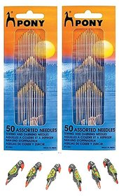 Pony 50 Assorted Needles, Sewing  darning Needles, Set of 1 with 2 Wooden Parrots