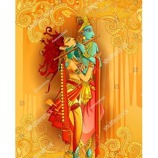 Style UR Home - Radha Krishna playing Flute Wall Poster  4 Ft  X  2 Ft