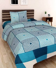 SHAKRIN 3d Printed Poly Cotton Single Bedsheet with 1 Pillow Cover ( 60 x 90 INCHES) , Multicolor