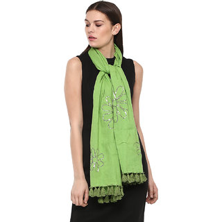 Rhe-Ana Opal Scarf/Stole 100 Cotton Green with Sequins
