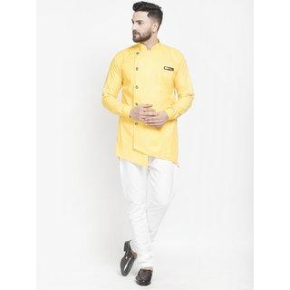 Benstoke mens yellow short kurta with pajama
