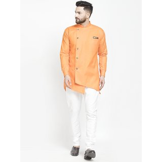 Benstoke mens orange short kurta with pajama