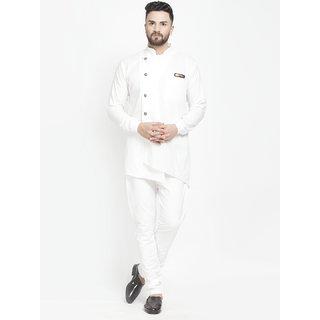 Benstoke mens white short kurta with pajama