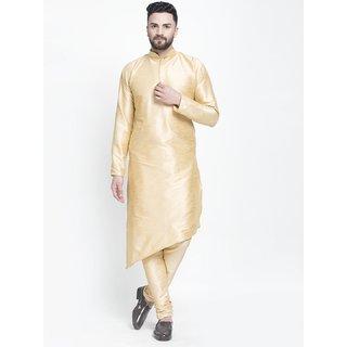 Benstoke mens gold Trailcut long kurta with pajama