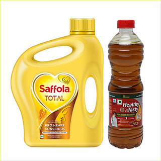 Combo of Saffola Total Pro Heart Conscious Blended Oil Can 2 L & Emami Healthy and Tasty Kachchi Ghani Mustard Oil 500ml