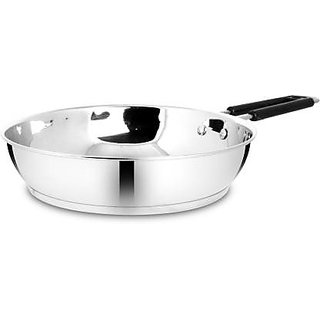 BERTOL Stainless Steel Induction Base Frypan 1250ml Fry Pan 24 cm diameter (Stainless Steel, Induction Bottom)
