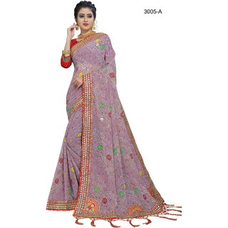 Aadyaa Creation Embroidered Bandhej Poly Georgette Saree with blouse