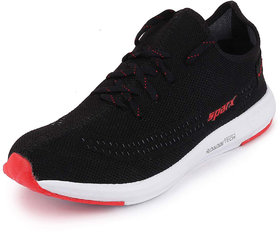 Sparx Men's Black/Red Lace Up Running Shoes