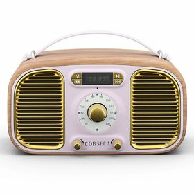 Corseca Eternia Retro Styled Bluetooth Wood Crafted Portable Speaker (Pink)