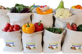 Ganapati Fridge Cotton Bag for Vegetable  Fruit Storage (Pack of 10) Reusable Ecofriendly Multipurpose Organizer.