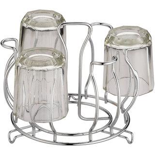 Arni Stainless Steel Glass Stand for Dinning Table, Glass Holder for Kitchen Tumbler Holder Style Flower