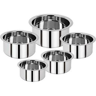 BERTOL KITCHENWARE Stainless Steel Induction Friendly Patila set Cookware Set  (Stainless Steel, 5 - Piece)