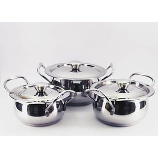 BERTOL KITCHENWARE BT Handi+Lid 3Pcs Handi 1 L, 1.5 L, 1.75 L with Lid  (Stainless Steel)