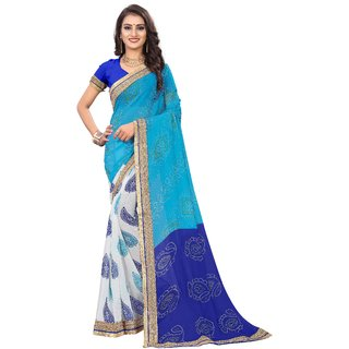 Aadyaa Creation Bandhej Poly Georgette Saree with blouse