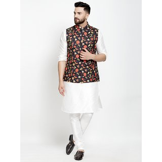 Benstoke silk white kurta pajama with printed nehru jacket
