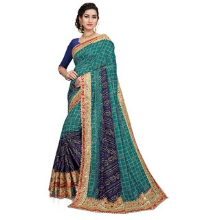 Aadyaa Creation Embroidered Embellished Bandhej  Vichitra Silk Saree