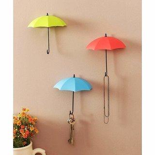 Djuize Umbrella Key Wall self adhesive Multipurpose Holder Hanger Hooks (Pack of 3)
