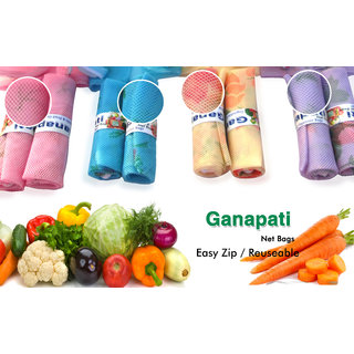 Ganapati Fridge Net Bag for Vegetable  Fruit Storage (Pack of 10) Reusable Multipurpose Organizer.