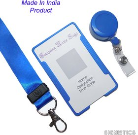 Signistics 3-in1 Identity Card Badge Holder, Badge Reel Pulley with Neck Lanyard (Made In India)